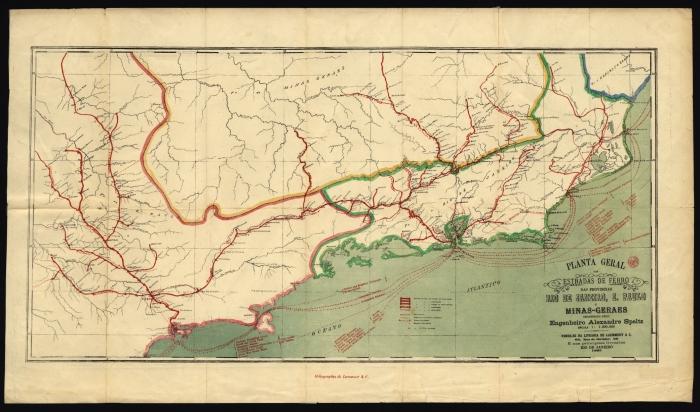 Estradas de Ferro - mapa de 1885